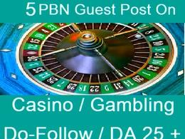 Provide 5 Backlinks from Poker, Gambling, Online Casino sites