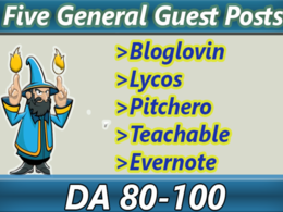 Do 5 dofollow High Authority General Guest posts on DA 80 to 100