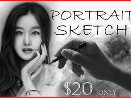 Draw detailed and realistic pencil portrait
