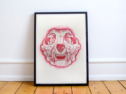 Draw an animal skull with a stylish pop of colour