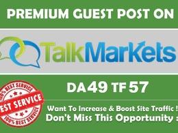 Publish guest post onTalkMarkets.com DA 49 TF 30 with dofollow