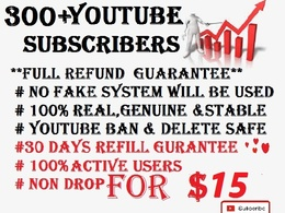 Get 300+ Real Youtube Subscribers 100% Full Money Back(Refund)