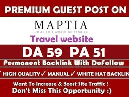 Publish an article on travel site Maptia. com DA-55 Dofollow