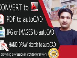 Convert PDF or JPG to auto cad