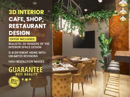 Realistic Interior Café, Restaurant, Shop Design