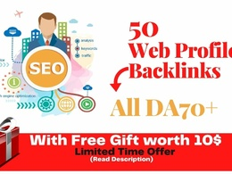 50 Web Profile backlinks from DA70+ Websites to Boost Rank