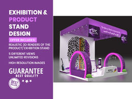 Design a realistic Exhibition Stand, Kiosks, or Product Stand