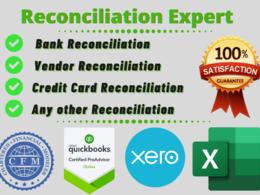 Prepare  bank or vendor reconciliation for 1 month data