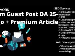 1 Premium Guest Post DA 25-40 - Casino + Premium Article