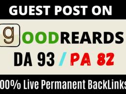 Publish Guest Post Article On High DA93 GOODREADS . COM