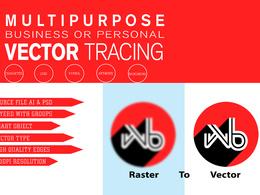 Do vector tracing logo, image, convert to vector, vectorise