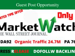 Publish Dofollow Guest Post On Marketwatch Press Release DA 92