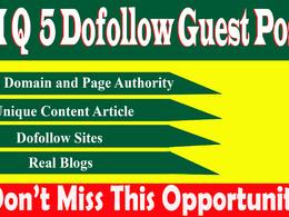 Provide 5 dofollow guest posting on high traffic da79 sites