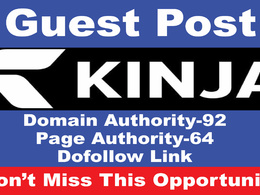 Write And Publish a Guest post on KINJA DA 92, PA 64