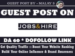 Guest Post on Jobsnhire. Jobsnhire.com DA60
