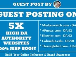 5X Guest Post on High Authority Websites DA80+ Dofollow Links