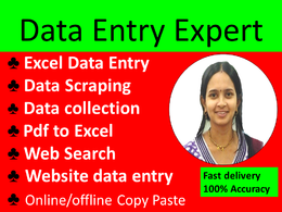 Do 2 hours data entry, data scraping and copy paste work.