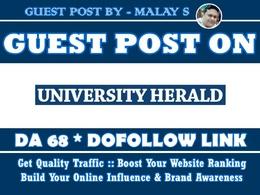 Guest post on UniversityHerald. UniversityHerald.com DA68
