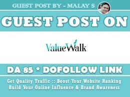 Guest post on Valuewalk. Valuewalk.com DA85 Dofollow Link