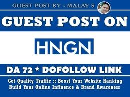 Guest post on HNGN. HNGN.com DA72 Dofollow Link