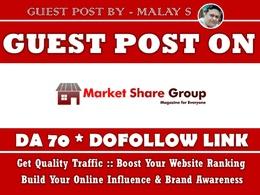 Guest Post on MarketShareGroup. Marketsharegroup.com DA70