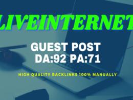 Write & Publish Do-Follow Guest Post DA 92 PA 71 On LIVEINTERNET