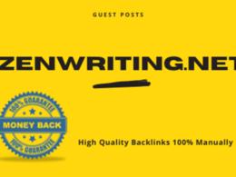 Write & Publish Guest Post On Zenwriting DA 49 PA 56 Backlinks