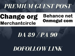 Guest post on merchantcircle, onmogul, Behance,change org Blog