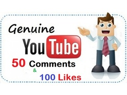 Provide 50 Comments + 100 Likes For Youtube Video