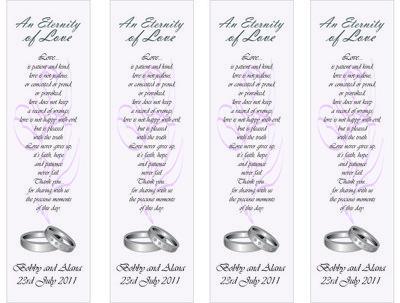 Design wedding favours/bookmarks