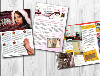 Design a beautiful magazine article or advert