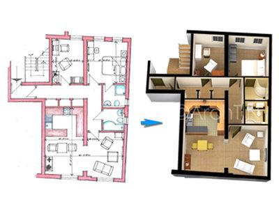 Turn your 2d floor plan into realistic 3d floor plan