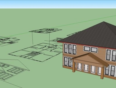 Create a 3d rendering of a small house in Google sketchup