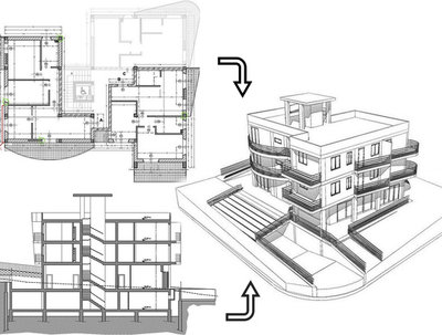 Design 3D architectural model from survey or plan.