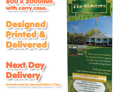 Design & print a pop up/pull up/roller banner next day delivery.