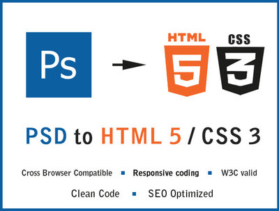 Do PSD to HTML5+CSS3 Web Page using Bootstrap