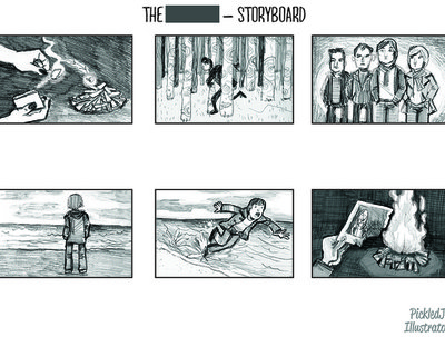 Create an illustrated storyboard page with up to 8 pictures