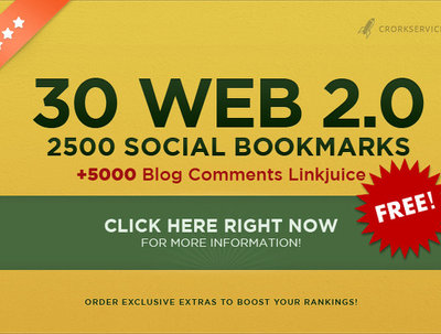 Make 30 web 2,0 properties + 2500 social bookmarks backlinks+ a FREE bonus