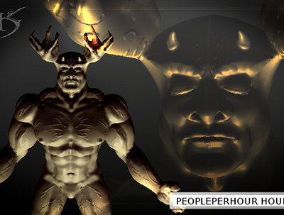 Create a digital 3D character sculpture