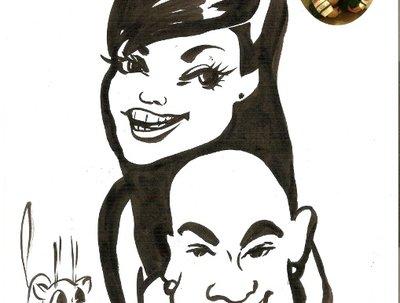 Professionally draw b&w caricature or cartoon