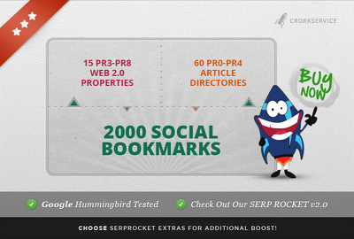 Create 75 PR3 to PR8 seo linkwheel and 2000 social bookmarks, great for youtube