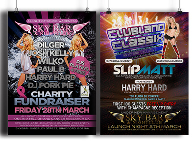 Create eye catching club/bar/event flyers