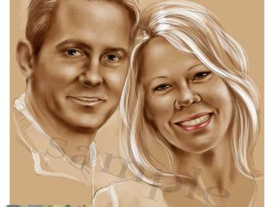 draw / illustrate family portrait of two people