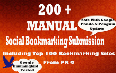 Do social bookmarking submission manually to 200 sites including top 100 sites