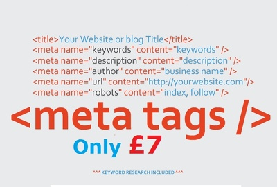 Create Search Engine Friendly SEO Meta Tags With Keyword Research for your website