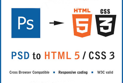 Convert your PSD file into pixel perfect html5  css3 with w3c valid coding