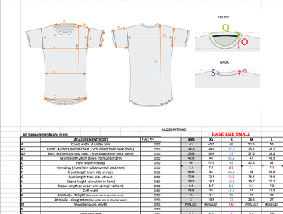 Create a garment/ apparel size chart for your manufacture to work from