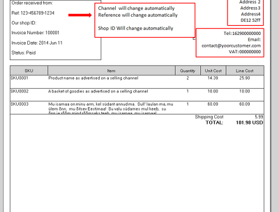 Do Linnworks Invoice template with auto change content from many channels