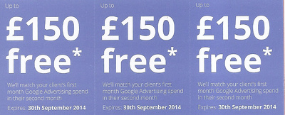 Set up a new Google AdWords Campaign and give you £150 advertising credit