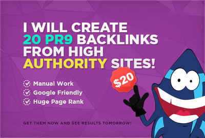 Manually create 20 PR9 Backlinks from authority, google youtube friendly sites